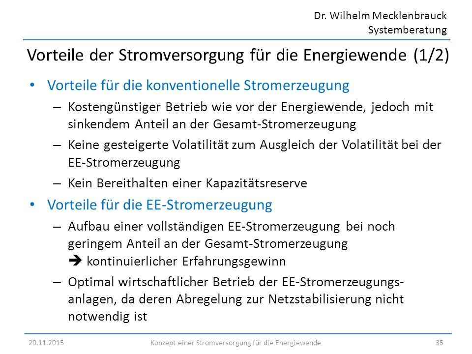 Dr. Wilhelm Mecklenbrauck Systemberatung Vorteile für die konventionelle Stromerzeugung – Kostengünstiger Betrieb wie vor der Energiewende, jedoch mit