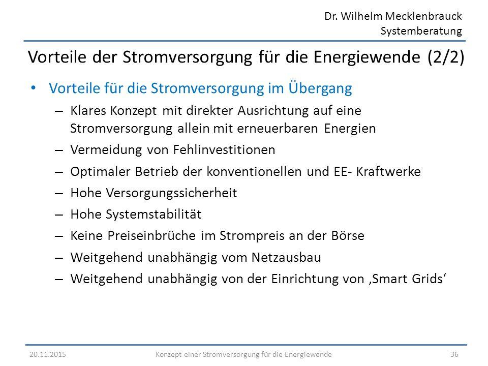 Dr. Wilhelm Mecklenbrauck Systemberatung Vorteile für die Stromversorgung im Übergang – Klares Konzept mit direkter Ausrichtung auf eine Stromversorgu