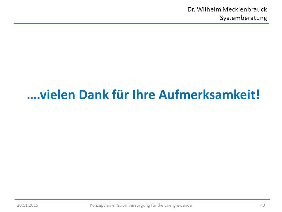 Dr. Wilhelm Mecklenbrauck Systemberatung ….vielen Dank für Ihre Aufmerksamkeit! 20.11.2015 Konzept einer Stromversorgung für die Energiewende 40