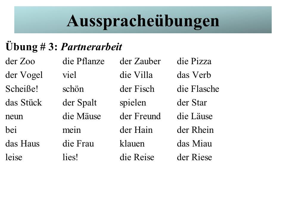 German Pronunciation Übung # 3: Partnerarbeit der Zoodie Pflanzeder Zauberdie Pizza der Vogelvieldie Villadas Verb Scheiße!schönder Fischdie Flasche d