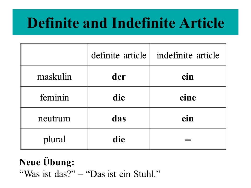 definite articleindefinite article maskulinderein feminindieeine neutrumdasein pluraldie-- Definite and Indefinite Article Neue Übung: Was ist das? – Das ist ein Stuhl.