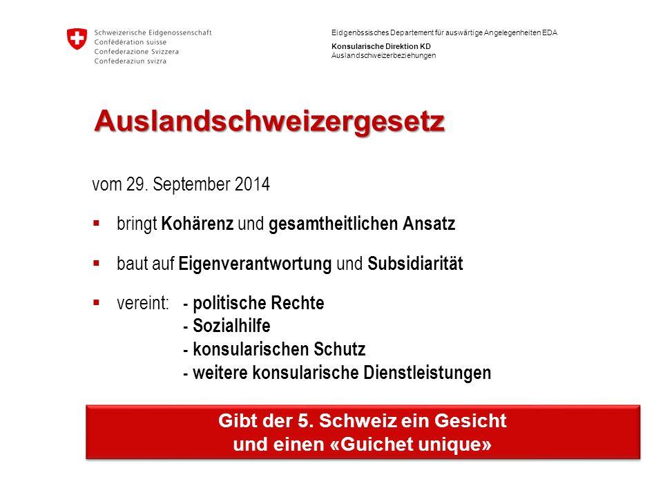 12 Eidgenössisches Departement für auswärtige Angelegenheiten EDA Konsularische Direktion KD Auslandschweizerbeziehungen Auslandschweizergesetz vom 29