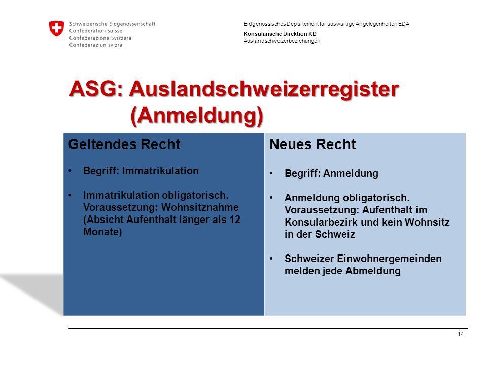 14 Eidgenössisches Departement für auswärtige Angelegenheiten EDA Konsularische Direktion KD Auslandschweizerbeziehungen ASG: Auslandschweizerregister