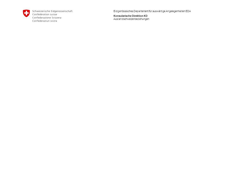 6 Eidgenössisches Departement für auswärtige Angelegenheiten EDA Konsularische Direktion KD Auslandschweizerbeziehungen Auslandschweizerstatistik: Altersstruktur  Auslandschweizergemeinschaft leicht älter als die ständige Wohnbevölkerung in der Schweiz (CH: 17.6%/Ausland 19.6%)  In Asien: wesentlich jünger (Senioren: 11%, 1/3 Minderjährige)  Israel: beinahe jede/r Zweite minderjährig (46%), Spanien: beinahe jede/r Dritte im Seniorenalter Thailand: jede/r Vierte im Seniorenalter  USA, Kanada, Argentinien, Brasilien, Thailand, Südafrika, Spanien und Italien: mehr Senioren als Kinder/Jugendliche