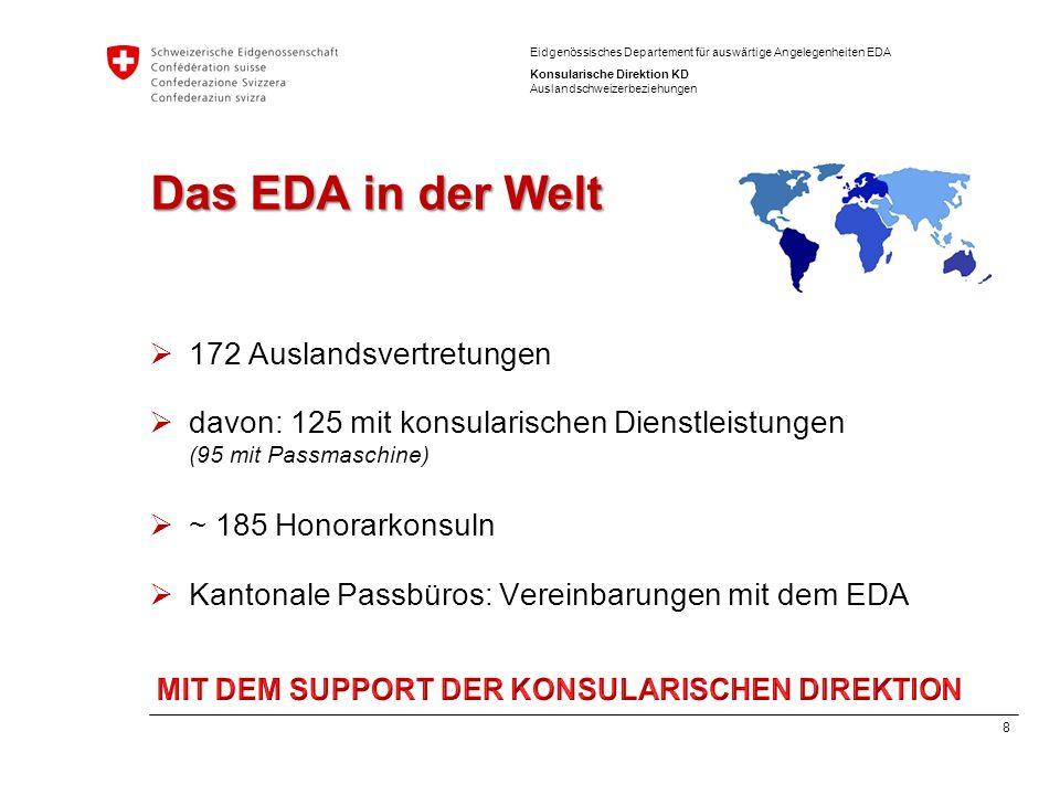 9 Eidgenössisches Departement für auswärtige Angelegenheiten EDA Konsularische Direktion KD Auslandschweizerbeziehungen Leistungsausweis 2014 97'764 Ausweise (+ 7,7%) 40'000 Anfragen Helpline (+ 15%) 1347 Fälle Konsularischer Schutz (+ 15%) 548 Dossiers der Sozialhilfe, 419 Rückwanderer