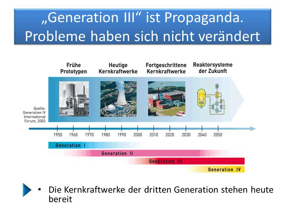 """""""Generation III"""" ist Propaganda. Probleme haben sich nicht verändert Die Kernkraftwerke der dritten Generation stehen heute bereit"""