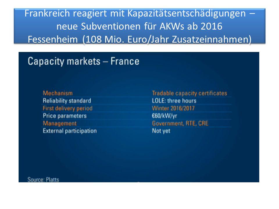 Frankreich reagiert mit Kapazitätsentschädigungen – neue Subventionen für AKWs ab 2016 Fessenheim (108 Mio. Euro/Jahr Zusatzeinnahmen)