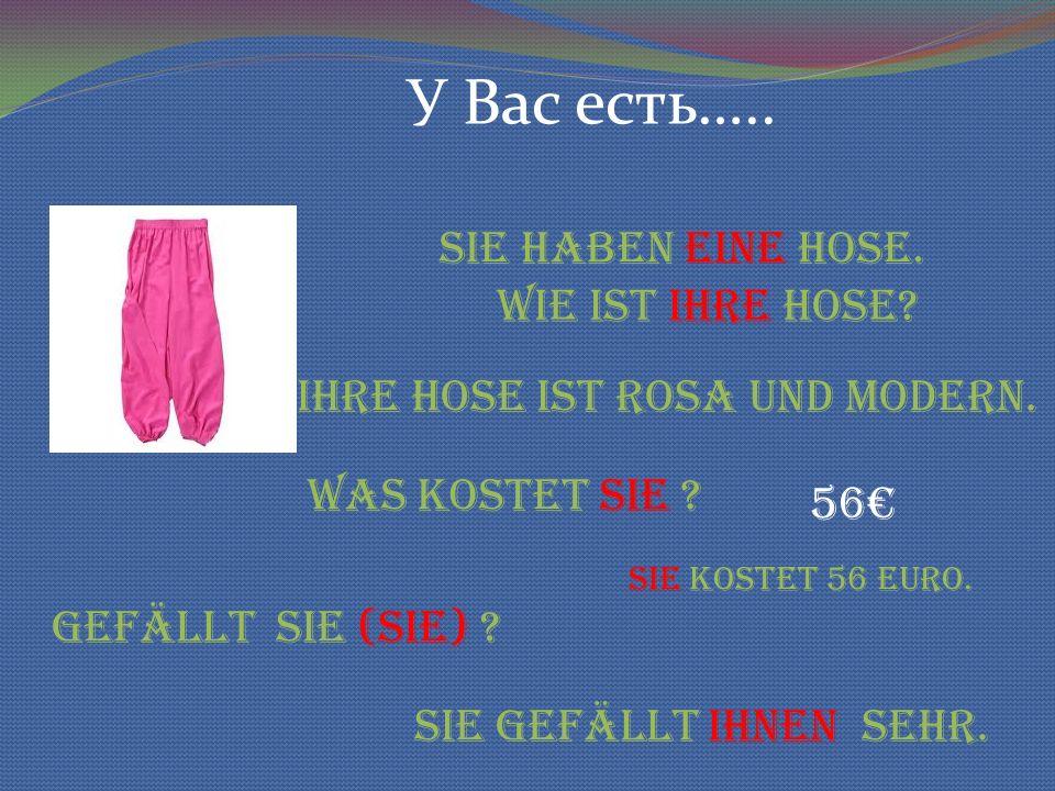 У Вас есть….. Sie haben eine Hose. Wie ist ihre Hose.