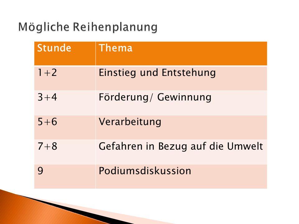 StundeThema 1+2Einstieg und Entstehung 3+4Förderung/ Gewinnung 5+6Verarbeitung 7+8Gefahren in Bezug auf die Umwelt 9Podiumsdiskussion