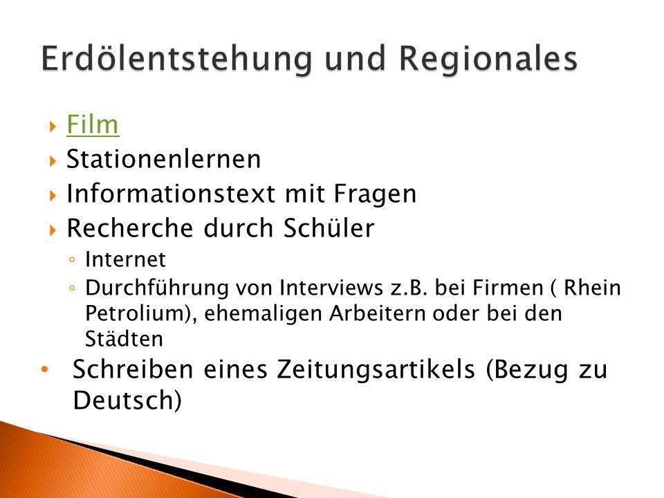  Film Film  Stationenlernen  Informationstext mit Fragen  Recherche durch Schüler ◦ Internet ◦ Durchführung von Interviews z.B. bei Firmen ( Rhein