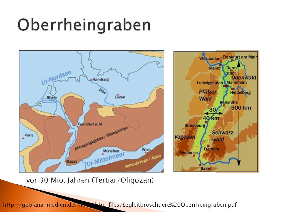 vor 30 Mio. Jahren (Tertiär/Oligozän) http://geolana-medien.de/index_htm_files/Begleitbroschuere%20Oberrheingraben.pdf