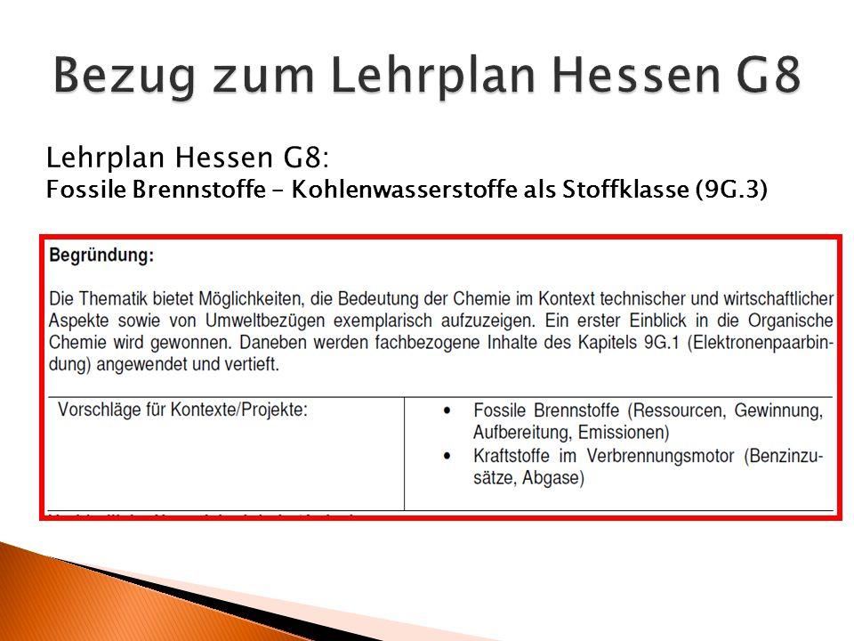 Lehrplan Hessen G8: Fossile Brennstoffe – Kohlenwasserstoffe als Stoffklasse (9G.3)