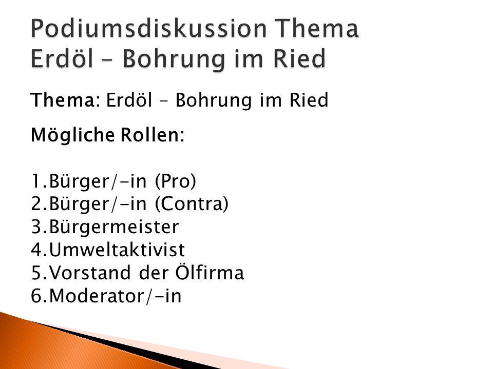 Mögliche Rollen: 1.Bürger/-in (Pro) 2.Bürger/-in (Contra) 3.Bürgermeister 4.Umweltaktivist 5.Vorstand der Ölfirma 6.Moderator/-in Thema: Erdöl – Bohru