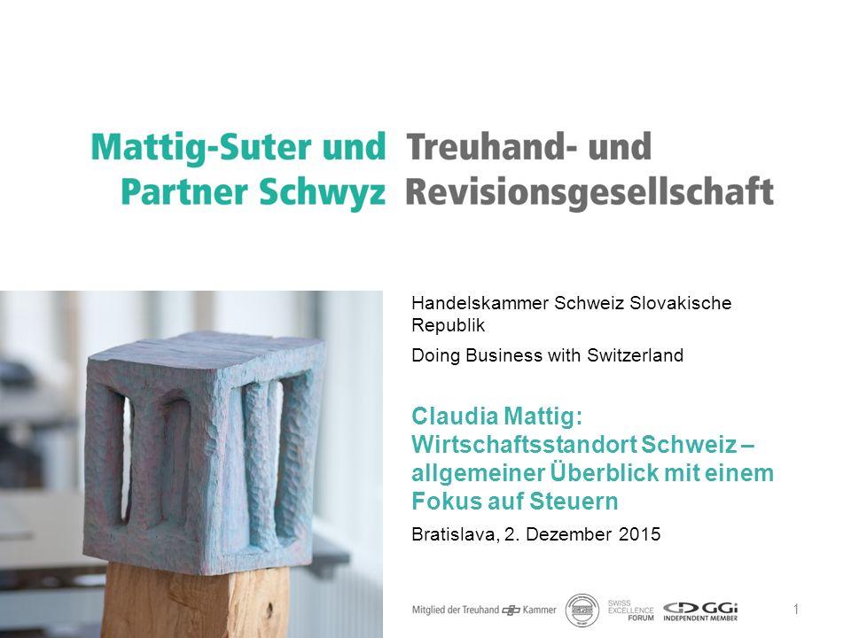 1 Handelskammer Schweiz Slovakische Republik Doing Business with Switzerland Claudia Mattig: Wirtschaftsstandort Schweiz – allgemeiner Überblick mit e