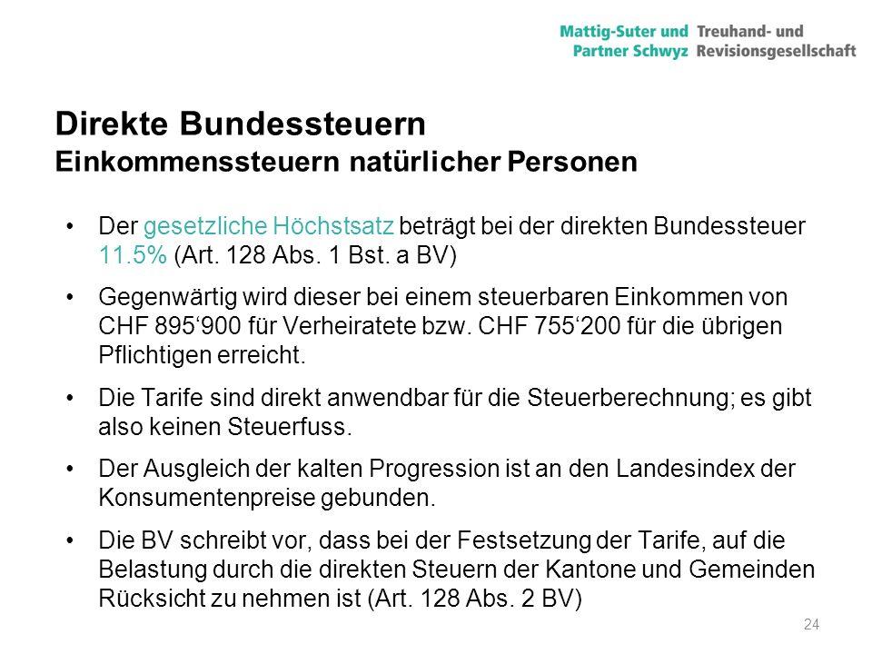 24 Direkte Bundessteuern Einkommenssteuern natürlicher Personen Der gesetzliche Höchstsatz beträgt bei der direkten Bundessteuer 11.5% (Art. 128 Abs.