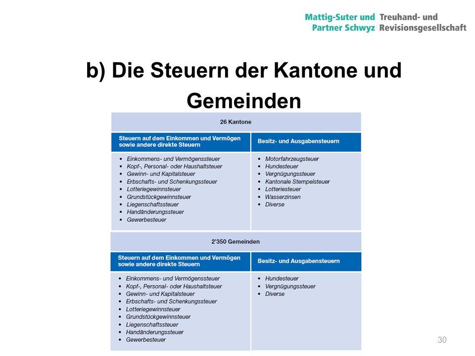 30 b) Die Steuern der Kantone und Gemeinden