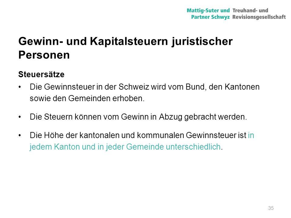 35 Gewinn- und Kapitalsteuern juristischer Personen Steuersätze Die Gewinnsteuer in der Schweiz wird vom Bund, den Kantonen sowie den Gemeinden erhobe