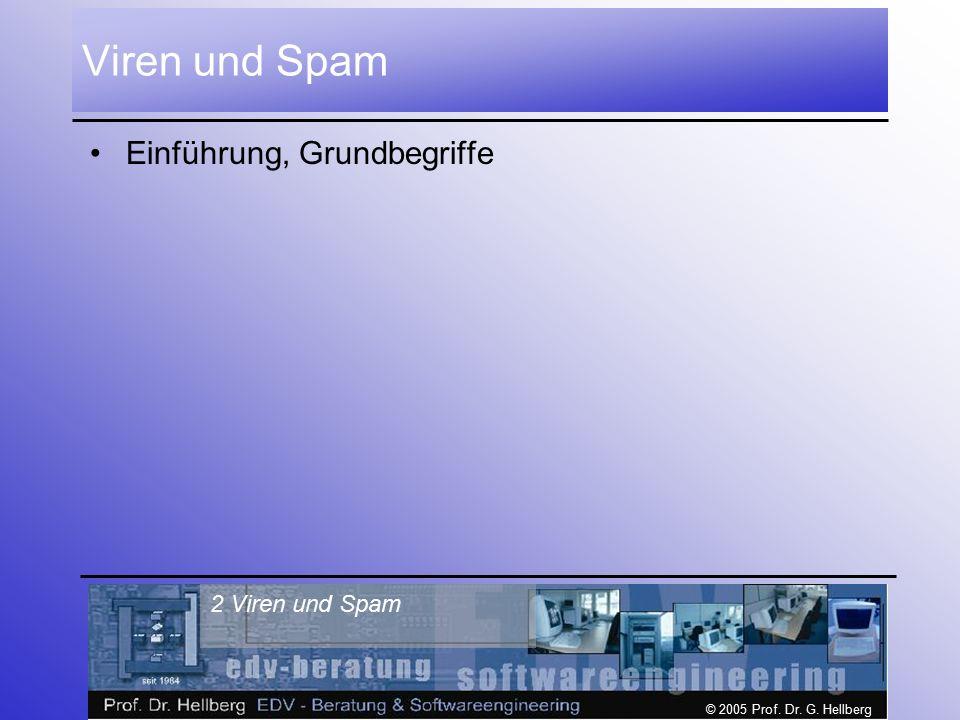 © 2005 Prof. Dr. G. Hellberg 2 Viren und Spam Viren und Spam Einführung, Grundbegriffe