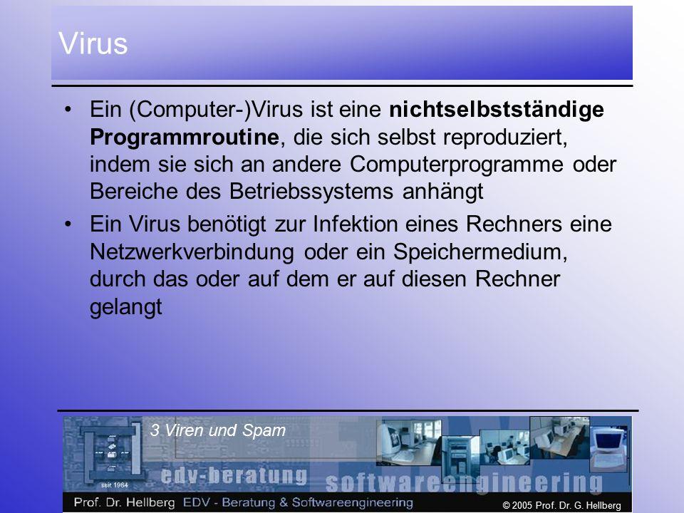 © 2005 Prof. Dr. G. Hellberg 3 Viren und Spam Virus Ein (Computer-)Virus ist eine nichtselbstständige Programmroutine, die sich selbst reproduziert, i