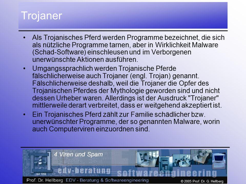 © 2005 Prof. Dr. G. Hellberg 4 Viren und Spam Trojaner Als Trojanisches Pferd werden Programme bezeichnet, die sich als nützliche Programme tarnen, ab