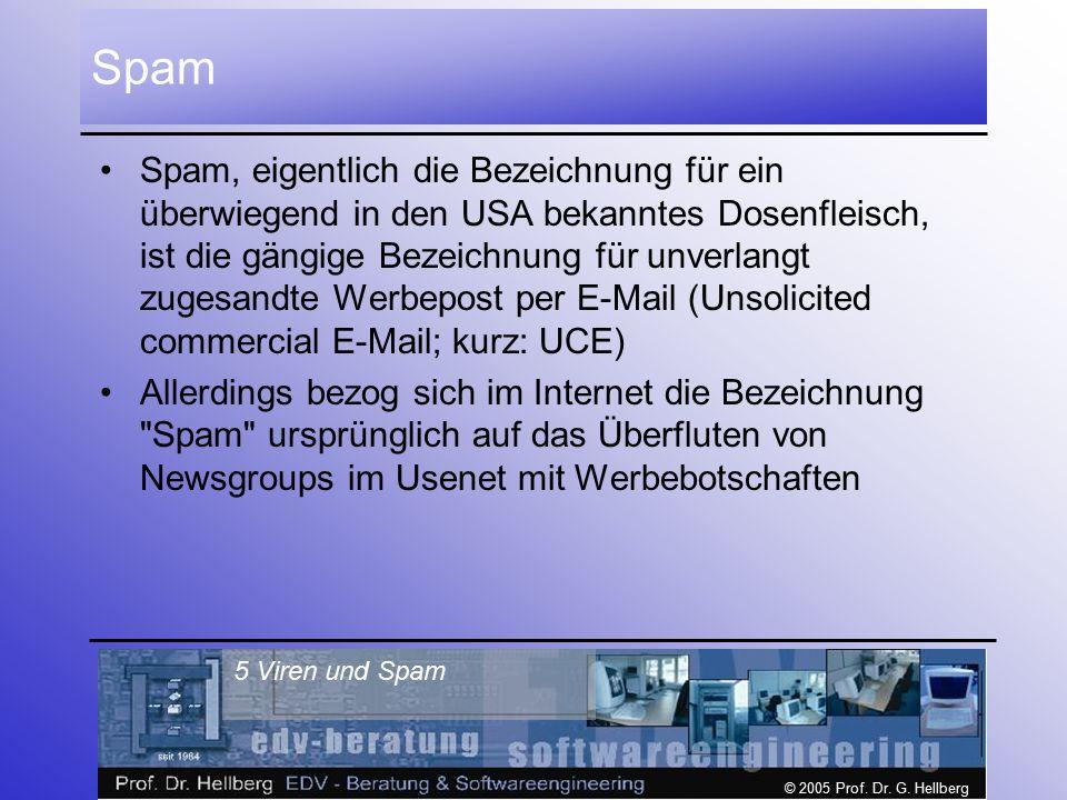 © 2005 Prof. Dr. G. Hellberg 5 Viren und Spam Spam Spam, eigentlich die Bezeichnung für ein überwiegend in den USA bekanntes Dosenfleisch, ist die gän