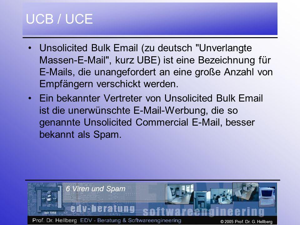© 2005 Prof. Dr. G. Hellberg 6 Viren und Spam UCB / UCE Unsolicited Bulk Email (zu deutsch