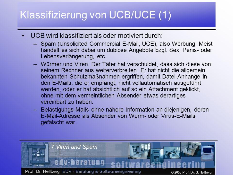© 2005 Prof. Dr. G. Hellberg 7 Viren und Spam Klassifizierung von UCB/UCE (1) UCB wird klassifiziert als oder motiviert durch: –Spam (Unsolicited Comm