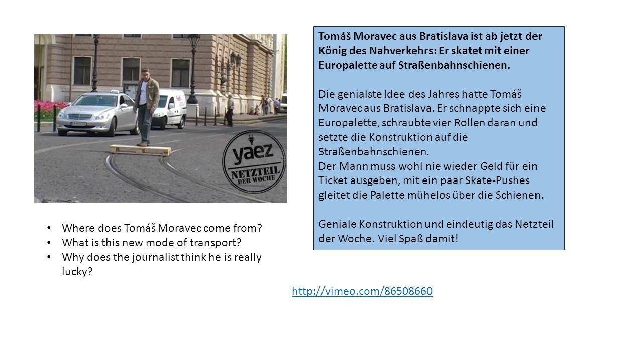 Tomáš Moravec aus Bratislava ist ab jetzt der König des Nahverkehrs: Er skatet mit einer Europalette auf Straßenbahnschienen. Die genialste Idee des J