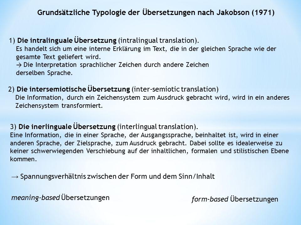 Grundsätzliche Typologie der Übersetzungen nach Jakobson (1971) 1) Die intralinguale Übersetzung (intralingual translation). Es handelt sich um eine i