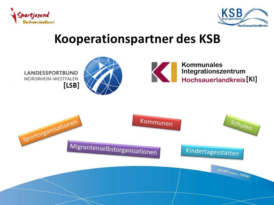 Kooperationspartner des KSB [KI] [LSB] Kommunen Migrantenselbstorganisationen Sportorganisationen Schulen Kindertagesstätten