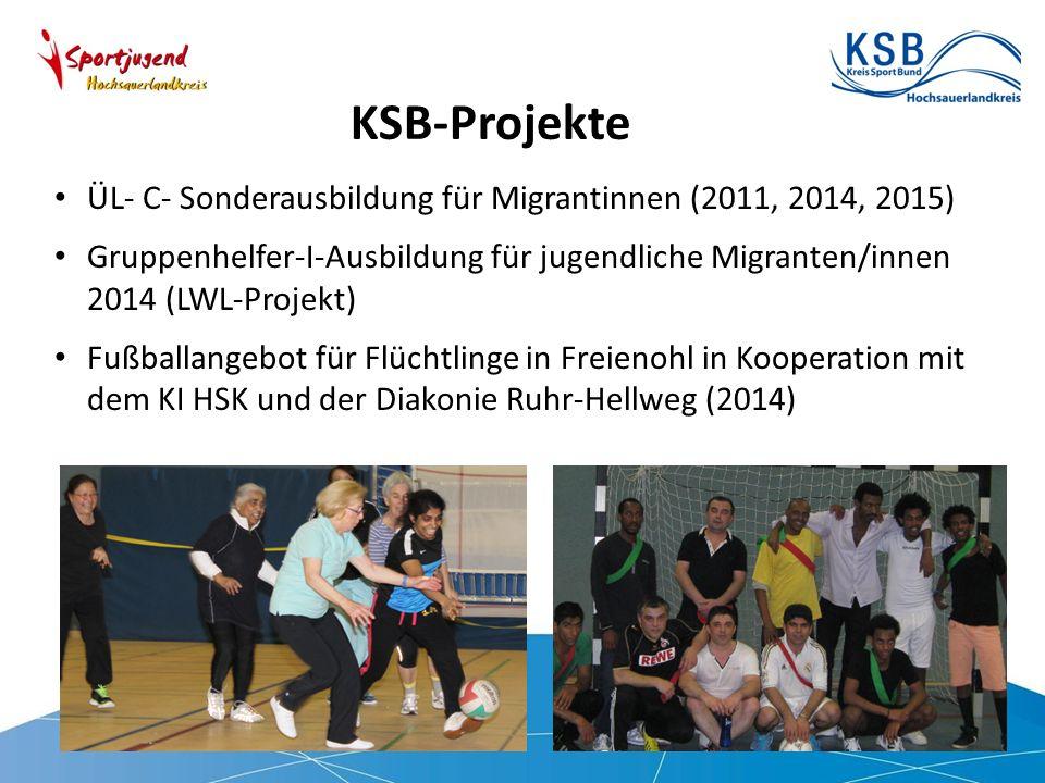 KSB-Projekte ÜL- C- Sonderausbildung für Migrantinnen (2011, 2014, 2015) Gruppenhelfer-I-Ausbildung für jugendliche Migranten/innen 2014 (LWL-Projekt) Fußballangebot für Flüchtlinge in Freienohl in Kooperation mit dem KI HSK und der Diakonie Ruhr-Hellweg (2014)