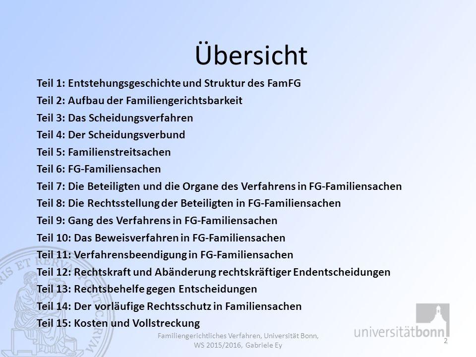 Literatur Gesamtes FamFG Bassenge/Roth, FamFG/RPflG: Gesetz über das Verfahren in Familiensachen und in den Angelegenheiten der freiwilligen Gerichtsbarkeit.