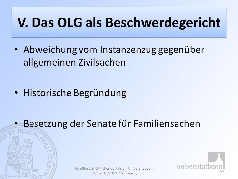 V. Das OLG als Beschwerdegericht Abweichung vom Instanzenzug gegenüber allgemeinen Zivilsachen Historische Begründung Besetzung der Senate für Familie