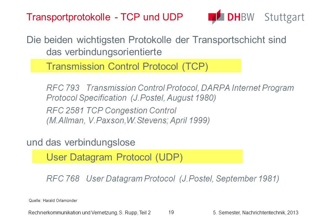 5. Semester, Nachrichtentechnik, 2013 Rechnerkommunikation und Vernetzung, S. Rupp, Teil 2 Die beiden wichtigsten Protokolle der Transportschicht sind