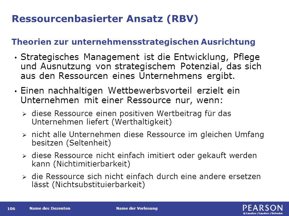 © Laudon /Laudon /Schoder Name des DozentenName der Vorlesung Ressourcenbasierter Ansatz (RBV) 106 Strategisches Management ist die Entwicklung, Pfleg