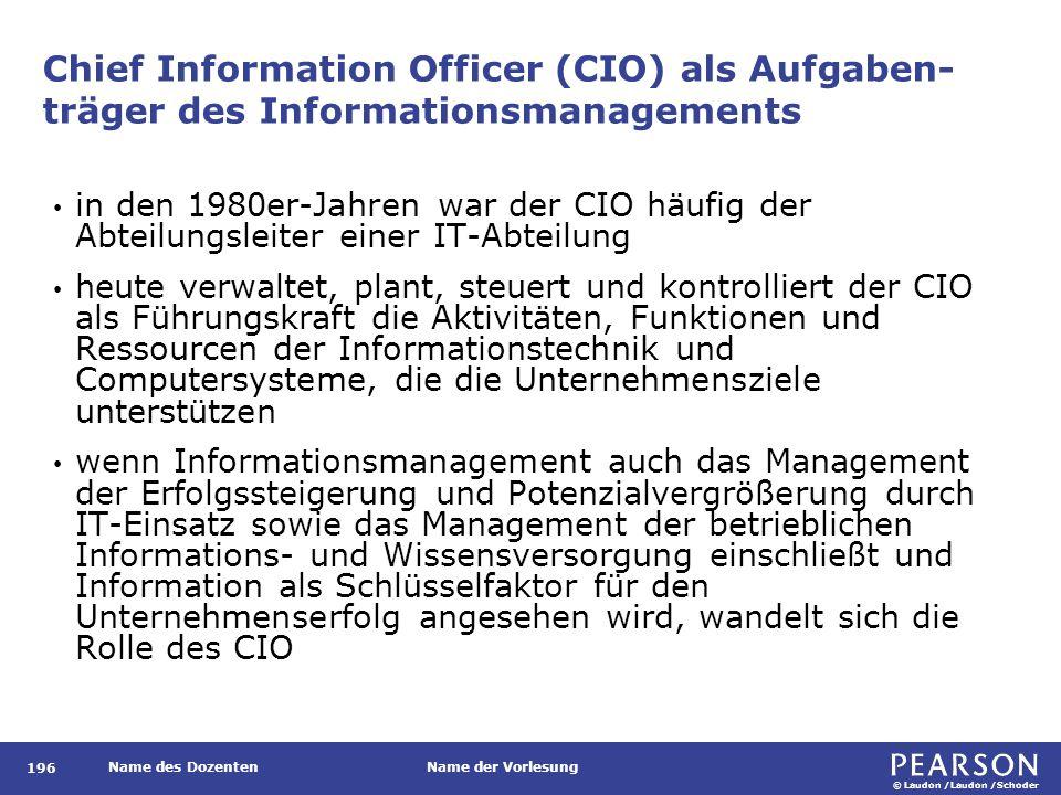 © Laudon /Laudon /Schoder Name des DozentenName der Vorlesung Chief Information Officer (CIO) als Aufgaben- träger des Informationsmanagements 196 in