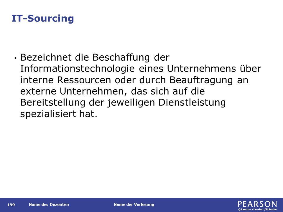 © Laudon /Laudon /Schoder Name des DozentenName der Vorlesung IT-Sourcing 199 Bezeichnet die Beschaffung der Informationstechnologie eines Unternehmen