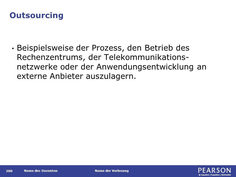 © Laudon /Laudon /Schoder Name des DozentenName der Vorlesung Outsourcing 200 Beispielsweise der Prozess, den Betrieb des Rechenzentrums, der Telekomm