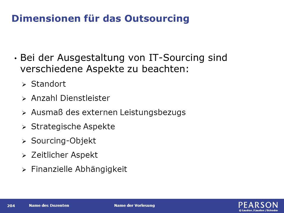 © Laudon /Laudon /Schoder Name des DozentenName der Vorlesung Dimensionen für das Outsourcing 204 Bei der Ausgestaltung von IT-Sourcing sind verschied