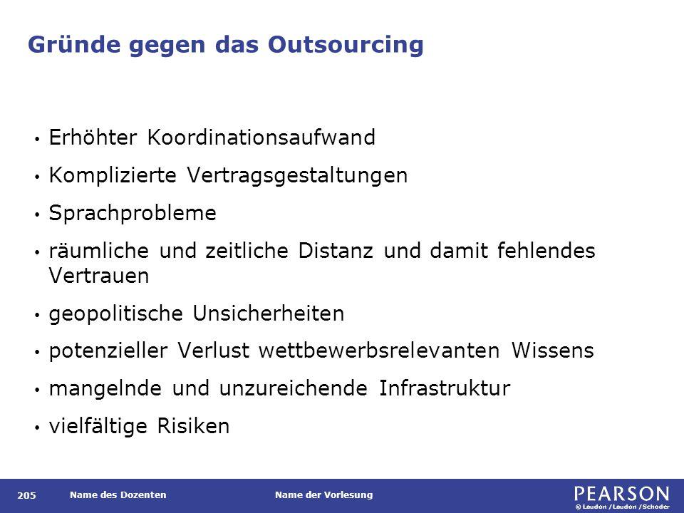 © Laudon /Laudon /Schoder Name des DozentenName der Vorlesung Gründe gegen das Outsourcing 205 Erhöhter Koordinationsaufwand Komplizierte Vertragsgest