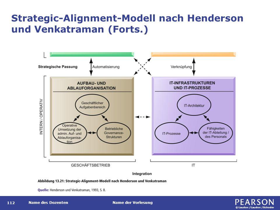 © Laudon /Laudon /Schoder Name des DozentenName der Vorlesung Strategic-Alignment-Modell nach Henderson und Venkatraman (Forts.) 112