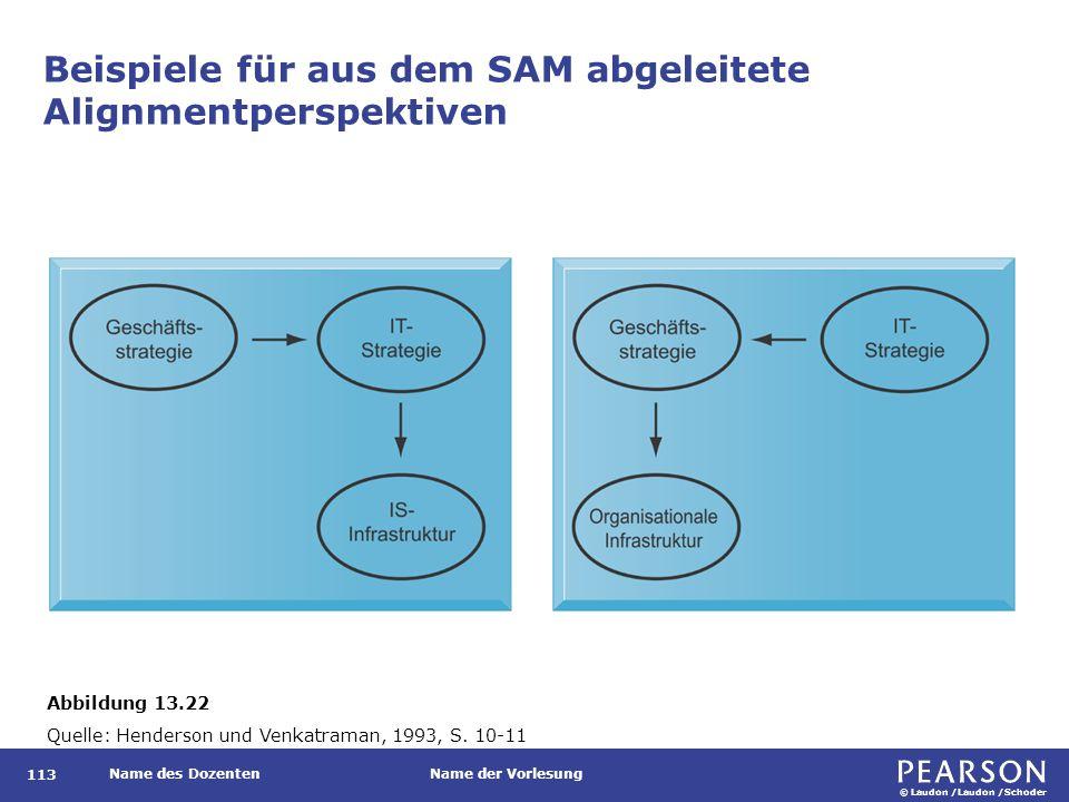 © Laudon /Laudon /Schoder Name des DozentenName der Vorlesung Beispiele für aus dem SAM abgeleitete Alignmentperspektiven 113 Abbildung 13.22 Quelle: