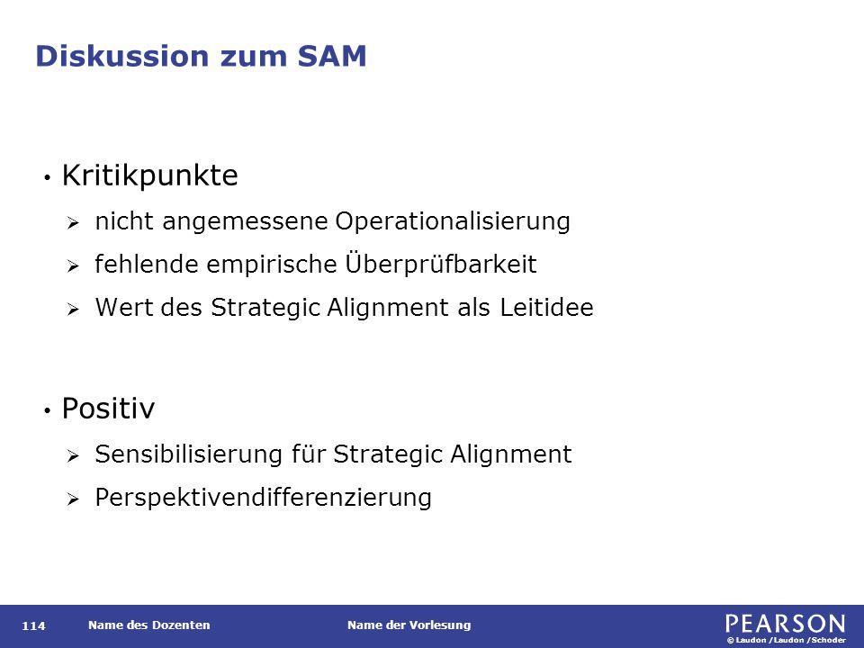 © Laudon /Laudon /Schoder Name des DozentenName der Vorlesung Diskussion zum SAM 114 Kritikpunkte  nicht angemessene Operationalisierung  fehlende e