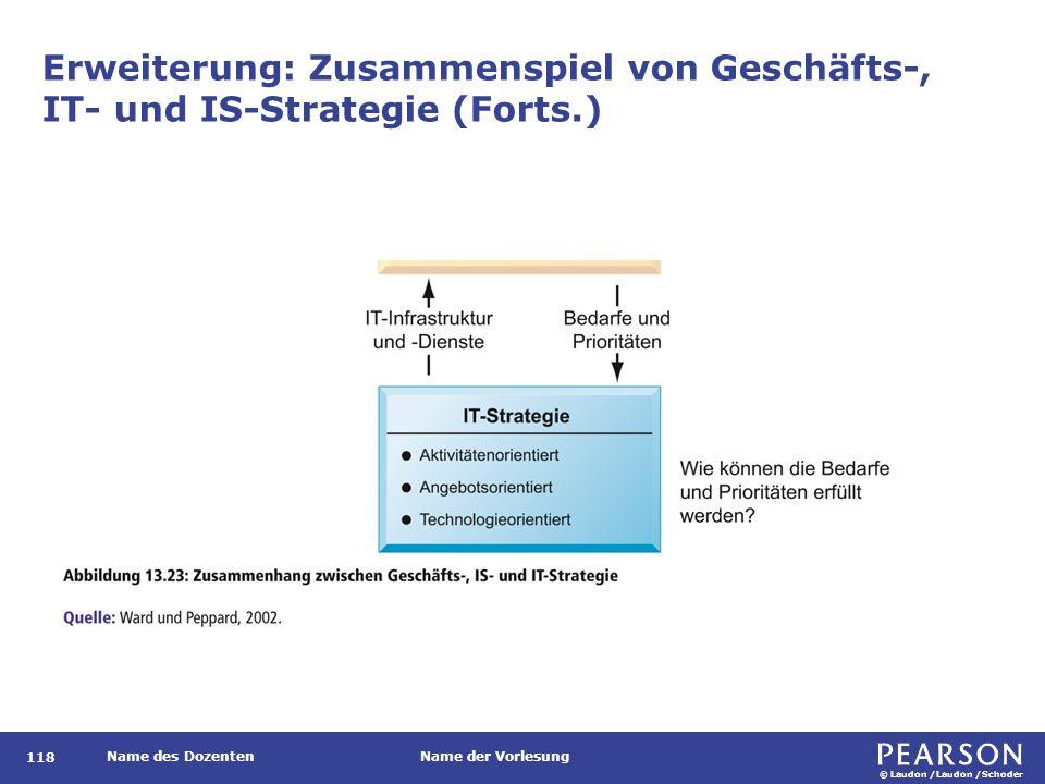 © Laudon /Laudon /Schoder Name des DozentenName der Vorlesung Erweiterung: Zusammenspiel von Geschäfts-, IT- und IS-Strategie (Forts.) 118