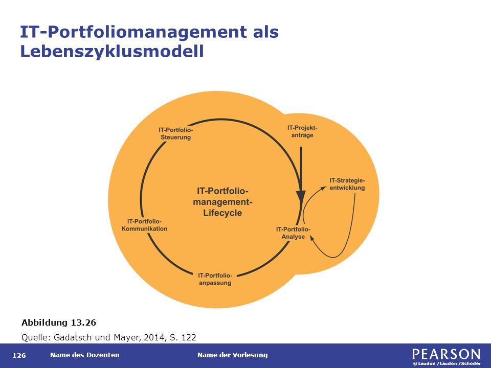 © Laudon /Laudon /Schoder Name des DozentenName der Vorlesung IT-Portfoliomanagement als Lebenszyklusmodell 126 Abbildung 13.26 Quelle: Gadatsch und M