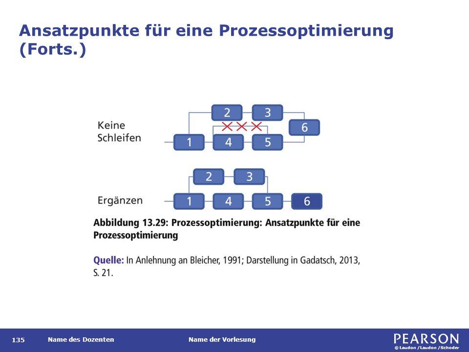 © Laudon /Laudon /Schoder Name des DozentenName der Vorlesung Ansatzpunkte für eine Prozessoptimierung (Forts.) 135