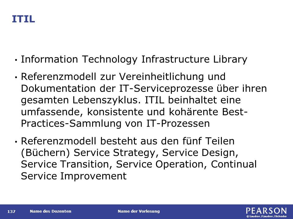 © Laudon /Laudon /Schoder Name des DozentenName der Vorlesung ITIL 137 Information Technology Infrastructure Library Referenzmodell zur Vereinheitlich