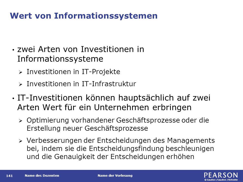 © Laudon /Laudon /Schoder Name des DozentenName der Vorlesung Wert von Informationssystemen 141 zwei Arten von Investitionen in Informationssysteme 