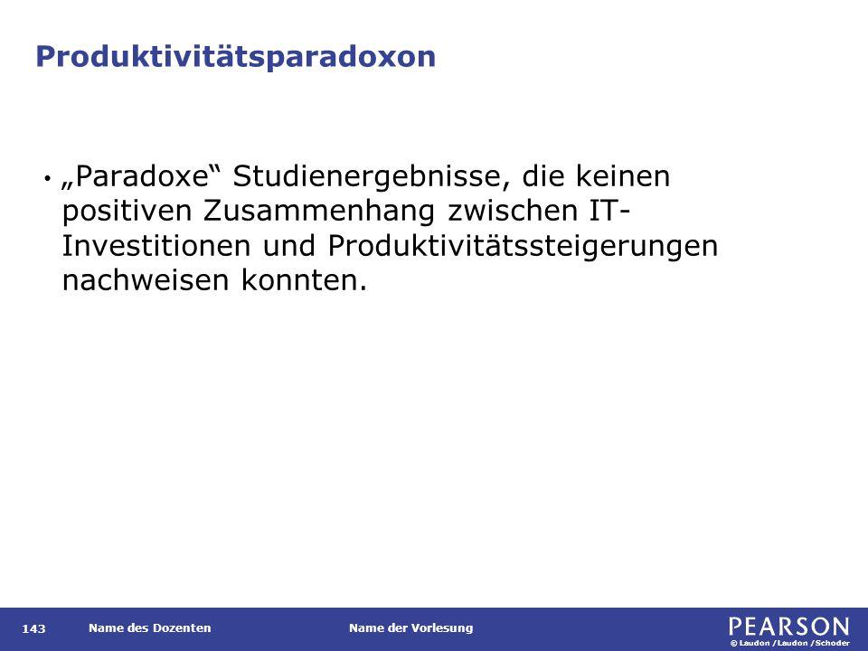 """© Laudon /Laudon /Schoder Name des DozentenName der Vorlesung Produktivitätsparadoxon 143 """"Paradoxe"""" Studienergebnisse, die keinen positiven Zusammenh"""