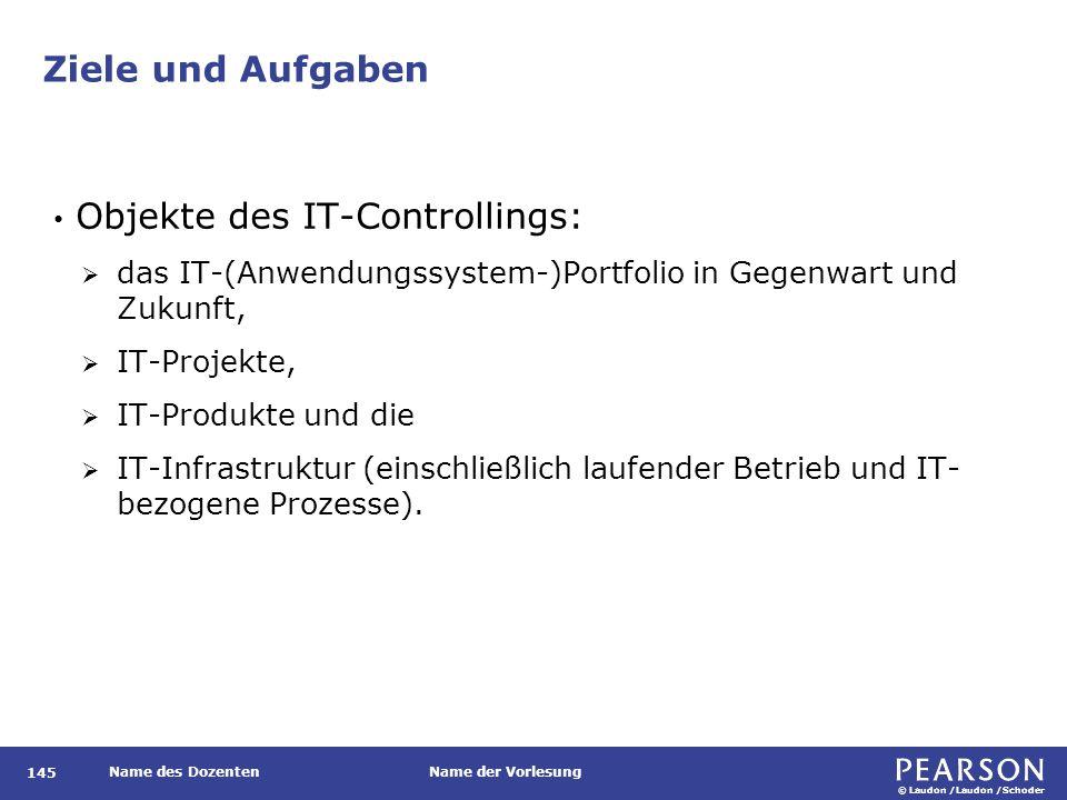 © Laudon /Laudon /Schoder Name des DozentenName der Vorlesung Ziele und Aufgaben 145 Objekte des IT-Controllings:  das IT-(Anwendungssystem-)Portfoli